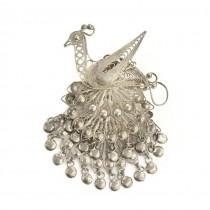 Rafinată broșă indoneziană | Păun |  argint filigranat | atelier Harto Suhardjo | cca.1965