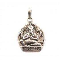 Veche amuletă hindusă Ganesha | manufactură în argint | British Raj | 1940 - 1950