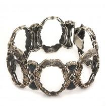 Brățară statement Rococo Revival | argint patinat & emailat | atelier Mannella Ecole di La  Berica | cca. 1960 | Italia