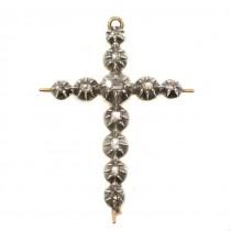 Broșă - pandant edwardian din aur și argint cu diamante naturale cca. 1 CT | Marea Britanie | cca.1900