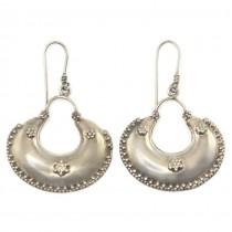 Cercei etnici indieni manufacturați în argint decorat prin granulare fină | Rajasthan