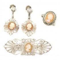 Vechi set de bijuterii filigranate în argint & camee naturale | 1920 -1930 | Italia