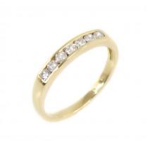 Inel din aur galben 18K decorat cu 7 diamante naturale 0.33 CT | manufactură de atelier londonez | cca.1980