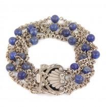 Brățară multistrand cu sistem de închidere elaborat în manieră Art Nouveau | argint & lapis lazuli | Italia