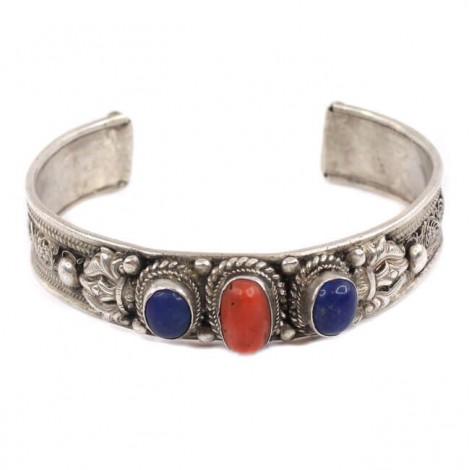 Veche brățară hindusă splendid decorată prin filigranare manuală   argint, coral roșu natural, lapis lazuli   cca. 1900-1930