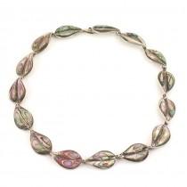 Rafinat colier mexican din argint și sidef de scoică abalone  | bijuterie de artă | cca.1970