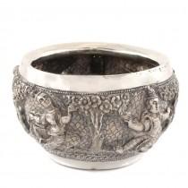 Vechi bol hindus pentru ofrande | argint decorat în stil Swami | 1880 - 1900 | Madras - British Raj