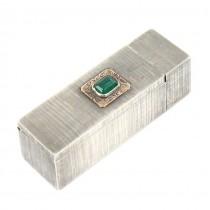 Elegant etui din argint pentru baton de ruj | aplicație de aur 18k & agat verde natural | Italia | cca.1945