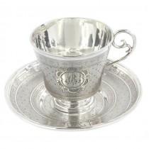 Garnitură solitaire pentru servirea cafelei | farfurie și ceașcă din argint | Franța
