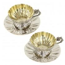 Serviciu tête-à-tête din argint pentru servirea ceaiului, cafelei și a înghețatei | 300 ml / cupă | argint 950 | atelier Alexandre-Auguste Turquet | cca. 1870