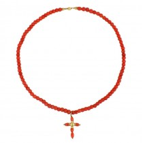 Colier religios realizat din coral roșu de Sardinia și aur galben 18k | 1940 -1960 | Italia