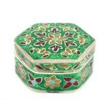 Cutiuță din argint pentru creme și pastile   email champlevé   manufactură de perioadă British Raj   India