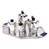 Serviciu Art Deco pentru ceai și cafea din argint 950 | tavă din metal argintat | atelier Servais & Gubert | Franța | cca.1930