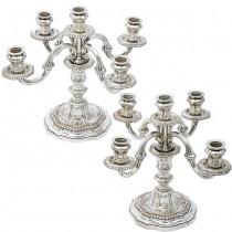 Impresionantă pereche de sfeșnice girandola elaborate în stil neobaroc | cupru argintat | Spania | cca. 1930 -1940