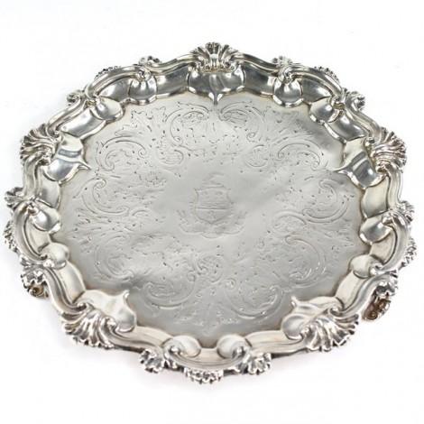 Tavă salver din argint decorată cu blazon heraldic al casei nobiliare Compton   atelier William Ker Reid   1851   Londra