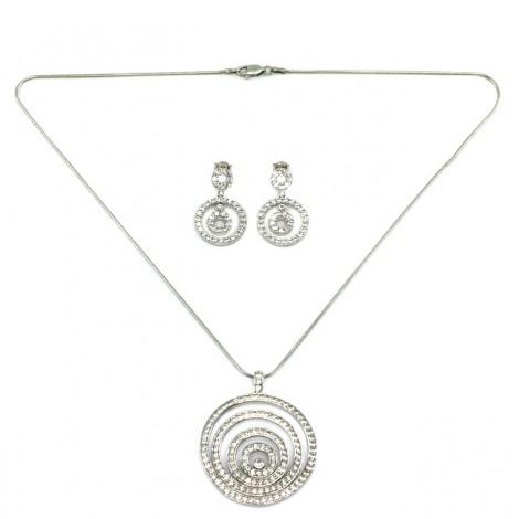 Set de bijuterii fashion din argint încrustat cu zirconii | colier și cercei | Italia