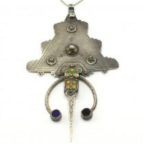 Colier accesorizat cu o impresionantă amuletă - fibulă iudeo-berberă | argint emailat | Mogador | Maroc