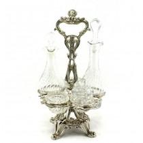 Olivieră Art Nouveau | antimoniu argintat & sticlă | Franța | cca.1910