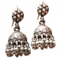 Vechi cercei etnici indieni | Jhumka | manufactură în argint | British Raj | 1940 -1960