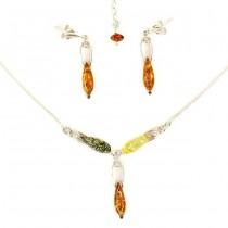 Set de bijuterii din argint decorat cu anturaje de chihlimbar natural și cristale zirconium | Amber Waves |  Produs Nou !