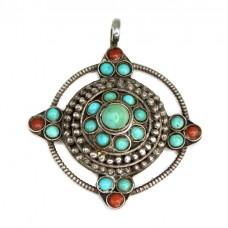 Veche amuletă mandala tibetană | argint, turcoaz himalayan și coral natural | Nepal | prima jumătate a secolului XX