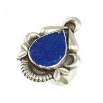Inel etnic hindus decorat cu lapis lazuli | manufactură în argint | India - Britisj Raj | 1940 -1960