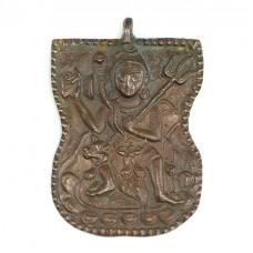 RAR : Impresionantă amuletă pectorală hindusă | Shiva | bronz | cca.1900 | India