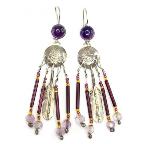 Cercei etnici amerindieni decorați cu ametist brazilian & mărgele peyote | argint | Statele Unite