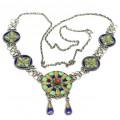 Vechi colier etnic Kabyle   argint emailat & coral faux   Algeria