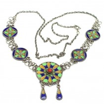 Vechi colier etnic Kabyle | argint emailat & coral faux | Algeria