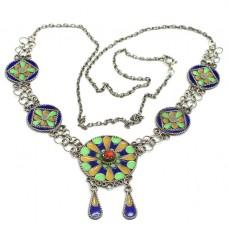 Vechi colier etnic Kabyle | argint emailat & turcoaz faux | Algeria