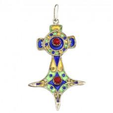 Amuletă tuaregă elaborată în stil Kabyle | argint emailat & coral faux | Maroc