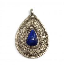 Amuletă hindusă decorată prin filigranare cu motive Shankha   argint & lapis afgan   India
