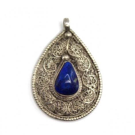 Amuletă hindusă decorată prin filigranare cu motive Shankha | argint & lapis afgan | India