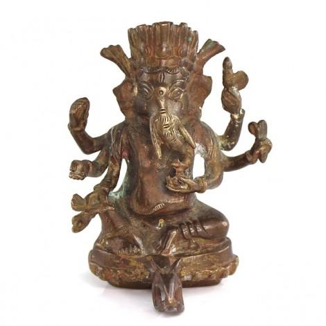 Veche statuetă Ganesha cu suport pentru lumânare | bronz | început de secol XX | India