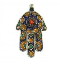 Veche amuletă Hamsa | argint emailat & coral faux | Maroc