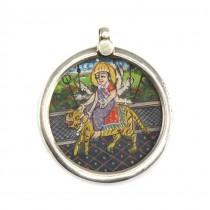 Veche amuletă hindusă Durga | argint & pictură manuală | India - British Raj