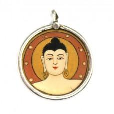 Veche amuletă Gaudama Buddha | argint & pictură manuală | India - British Raj