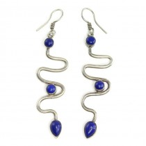 Cercei etnici indieni   Naga   argint și lapis lazuli
