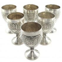 Set de 6 pocale din argint elaborate în stil Art Deco mexican   atelier Alfredo Ortega & Sons   cca.1930