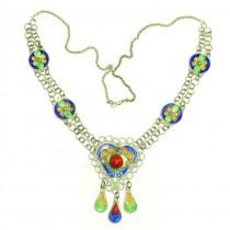 Colier etnic Kabyle | argint emailat & coral faux | Algeria