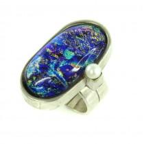 Spectaculos inel statement modernist | argint & sticlă dicroică| Franța