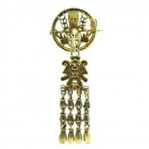 Rafinată broșă - pandant Etruscan Revival | argint aurit | Italia