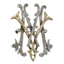 Broșă victoriană stilizată sub forma unei monograme cu inițialele MV | argint vermeil | Franța
