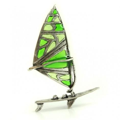 Miniatură windsurf din argint emailat plique-a-jour | Italia