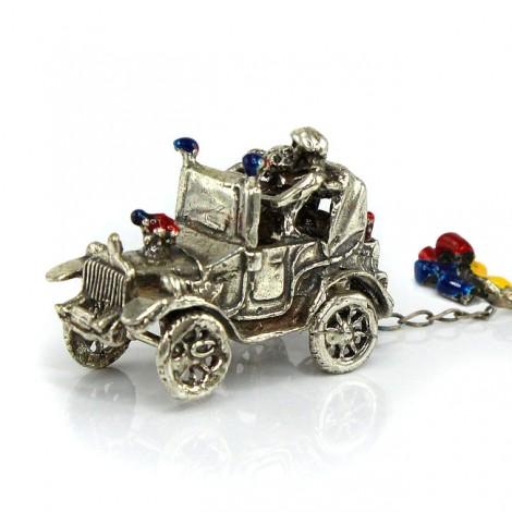 Miniatură din argint inedit stilizată sub forma unei mașini  matrimoniale | Just Married |  Italia