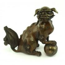 Statuetă okimono din bronz | Komainu - Shisa - Foo Dog | perioadă Meiji - Taisho | Japonia