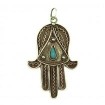 Veche amuletă Hamsa | argint filigranat & turcoaz natural | Tunisia cca.1920