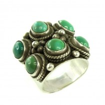 Spectaculos inel etnic amerindian decorat cu turcoaze naturale Royston | manufactură în argint | Statele Unite