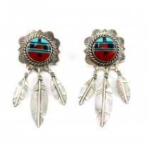 Cercei etnici amerindieni Zuni Sunface | argint & pietre naturale | Statele Unite